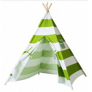 TENTE TUNNEL D'ACTIVITÉ Coton Toile Tente Enfant en vert et blanc