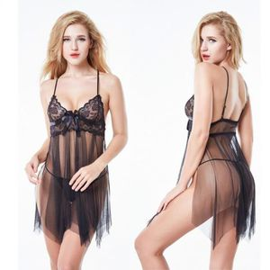 ROBE SEXY Femme Sexy Lingerie Lady Lace Stitching Transparen