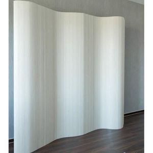 PARAVENT Paravent design en bambou 200 x 250 cm blanc PAR06