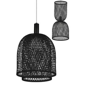 LUSTRE ET SUSPENSION RUBEN-Suspension Rotin Ø36cm Noir Globen Lighting