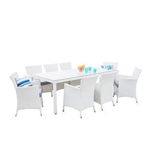 Salon de jardin blanc 8 chaises - Achat / Vente pas cher