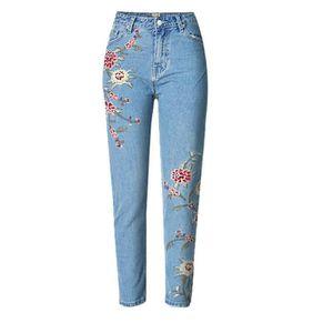 Jeans Pantalon Femme Bleu 3D Fleurs Broderie Taille Haute Pour Femme Slim  Fit Skinny Poche Pantalon 97e910461888