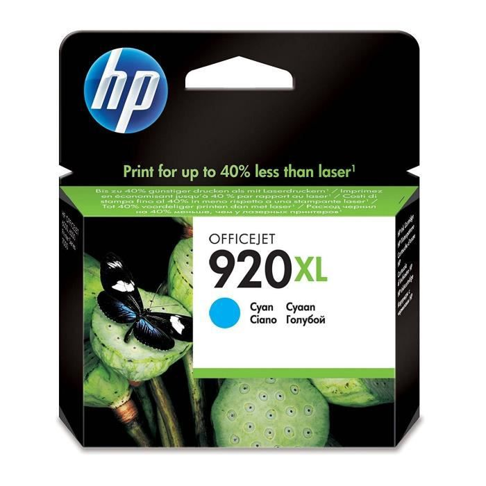 HP Cartouche d'encre 920XL - 700 pages - 1 Pack - Blister multi tag - Cyan