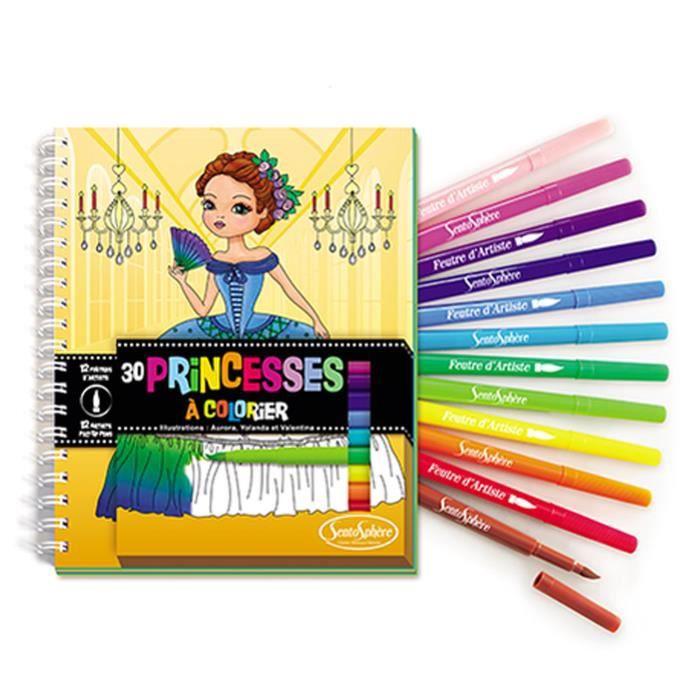 SENTOSPHERE Carnet De Coloriage + Feutres - Princesses