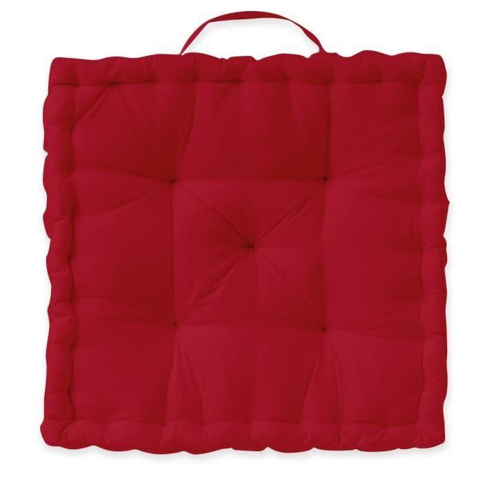 Coussin de sol - Enveloppe : 100% coton : tissé teint - Dimensions : 40 x 40 x 12 cm - Rouge pomme d'amourCOUSSIN DE SOL - MATELAS DE SOL