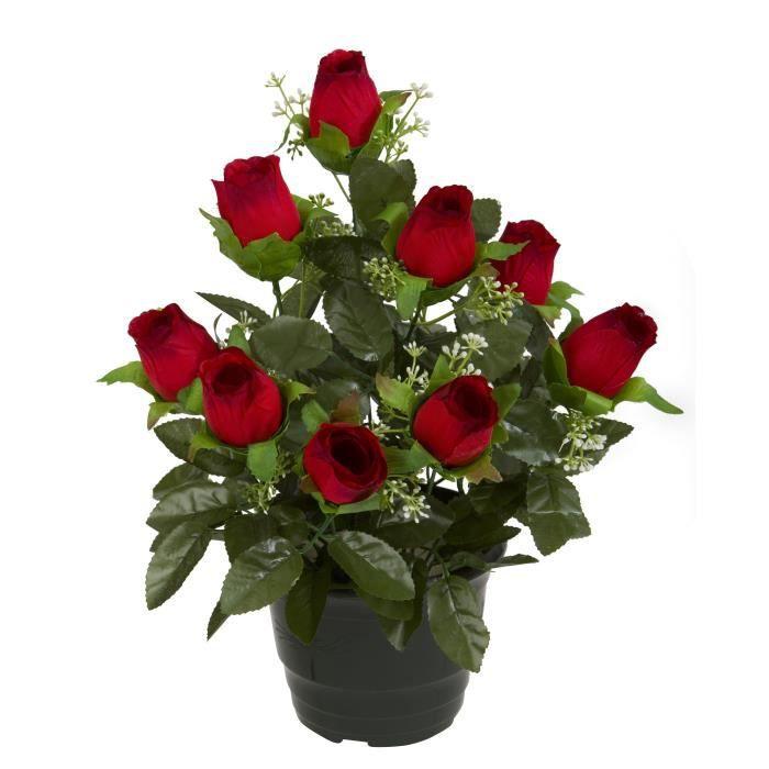UNE FLEUR EN SOIE Pot de boutons de rose - 34 cm