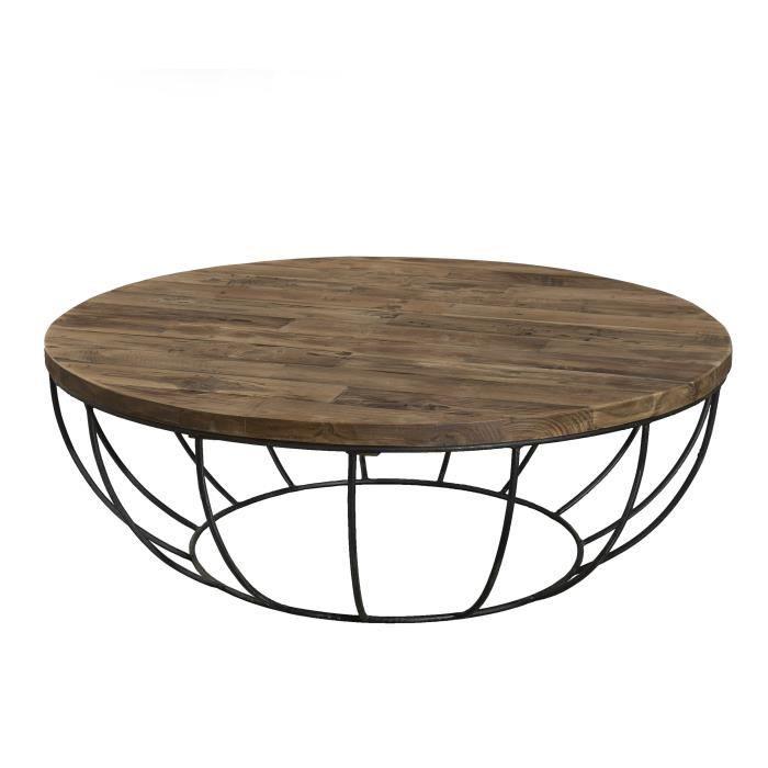 Table Basse Ronde Style Industriel En Bois Teck Pieds En Métal Et