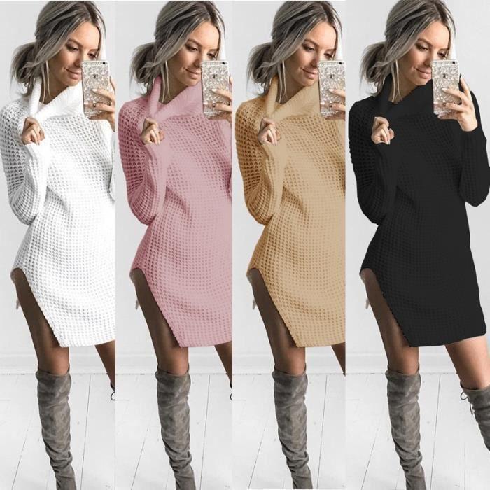 automne hiver 2017 nouveau femmes side slit pull en tricot col haut manches longues femmes. Black Bedroom Furniture Sets. Home Design Ideas