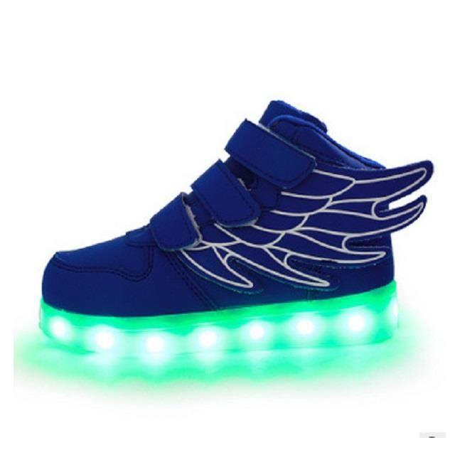 Chaussures pour enfants brillent chaussures garçon fille de lumière de nuit colorée ailes Velcro chaussures