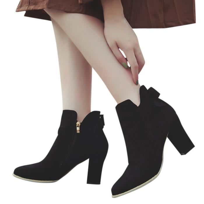 Martin Bow Flcok Toe Zipper Talons Bottes Femmes Ponited Chaussures Bottines Lhb882 Les qzxXwFSF