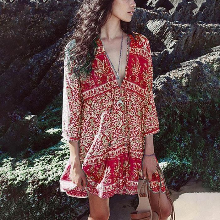 Imprimée S Lady D'été Robe Rouge Mode Col Féminine En Floral Casual Bohème V axn1pvqT1P