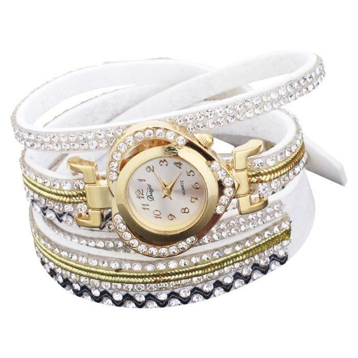 Excellente qualité gros remise acheter de nouveaux Duoya Montres Bracelet-montre pour femmes Montre de meilleures marques de  luxe en forme de coeur en or Nouvelle montre , D194 blanc