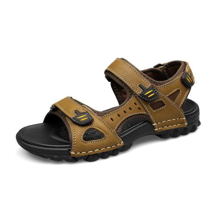 Biencome® Sandales Hommes Bout Fermé en Cuir Respirant Confortable pour Sport Plage - Kaki