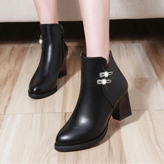 Cuir Chaussures Martin Zipper Bottes Strass Qinhig810 En Casual Talon Haut PA5ASw