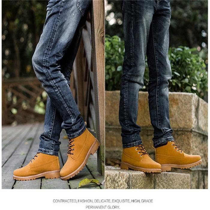 Martin Bottines Hommes Durable Durable En Cuir Peluche Boots BJ-XZ030Jaune46-jr