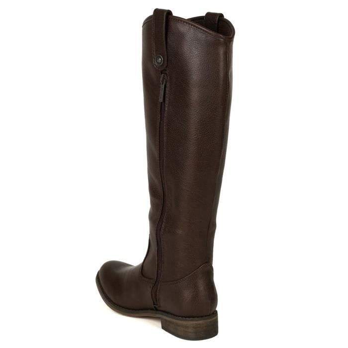 Ae45 Leatherette Round Toe Riding Knee High Boot GVIET Taille-42