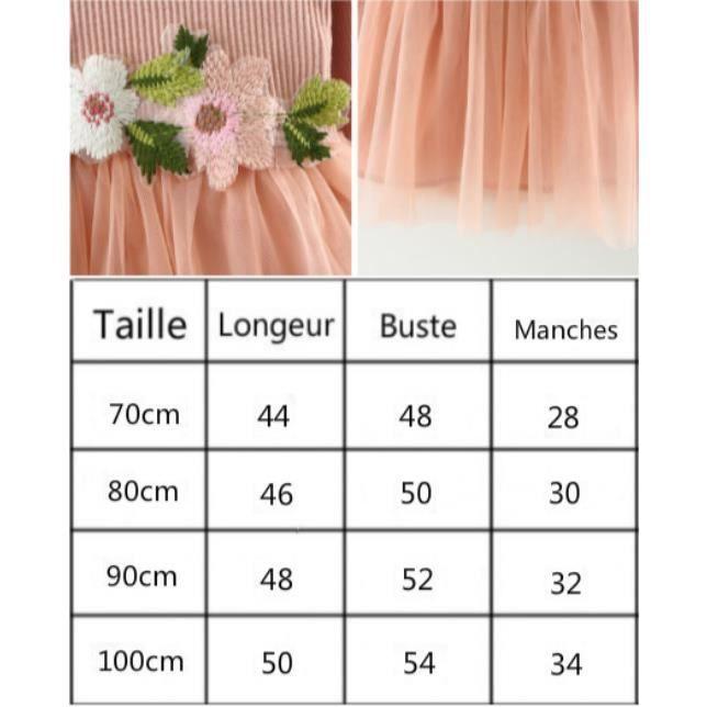 2017 Automne fille robe manches longues Fil net robe bébé fleur princesse robe