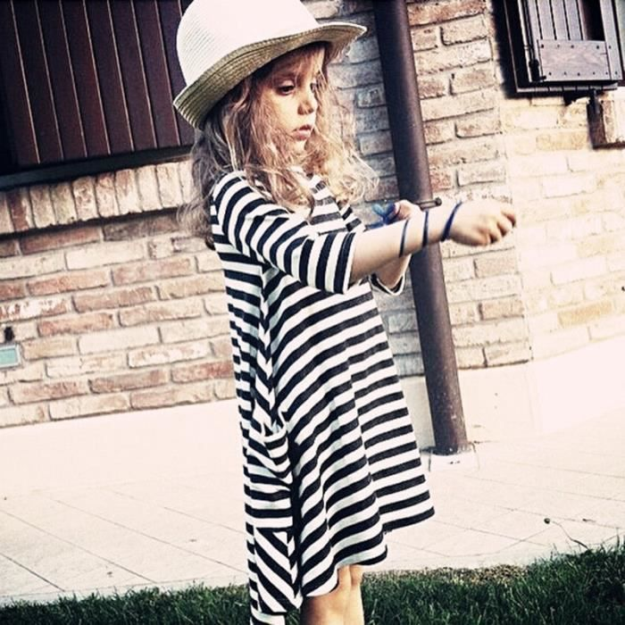 Girl Child Mama Stripe Simple Casual Pocket demi-robe à manches-6184