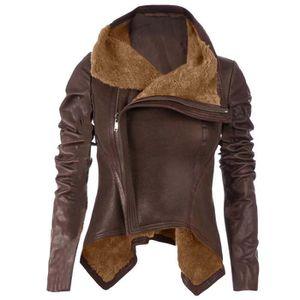 2a6e7b19d0a75 MANTEAU - CABAN Femmes manches longues manteau en cuir serré Veste