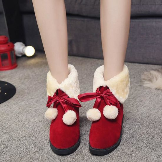 Bottes de neige Bottes hairball hiver cheville Chaussures Femmes Bottes Chaussures Mode Rouge Rouge - Achat / Vente botte