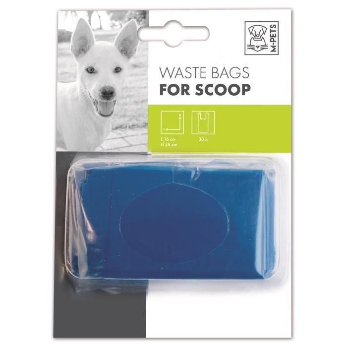 M-PETS Recharge sacs à déjection Waste Bags - 3x10 sachets - 16x38cm - Bleu - Pour chien