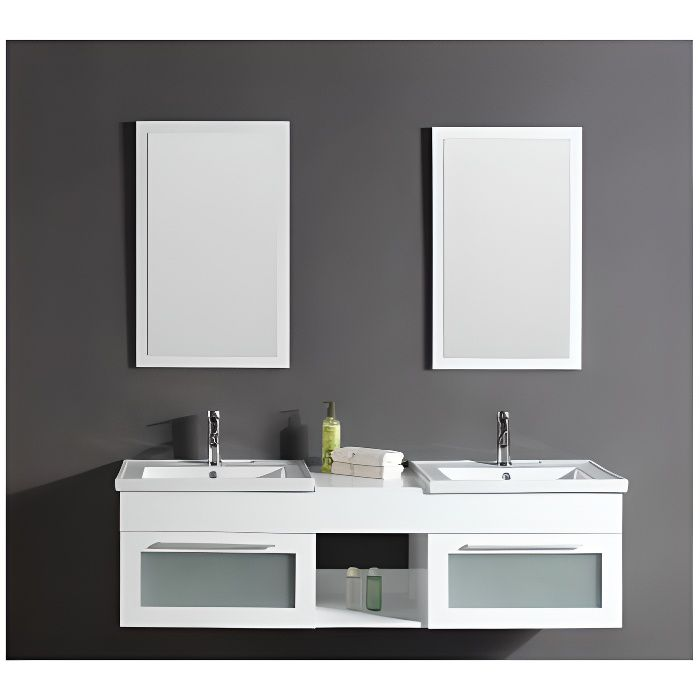 Meuble de salle de bain Bahamas 2 vasques + 2 miroirs - Blanc ...