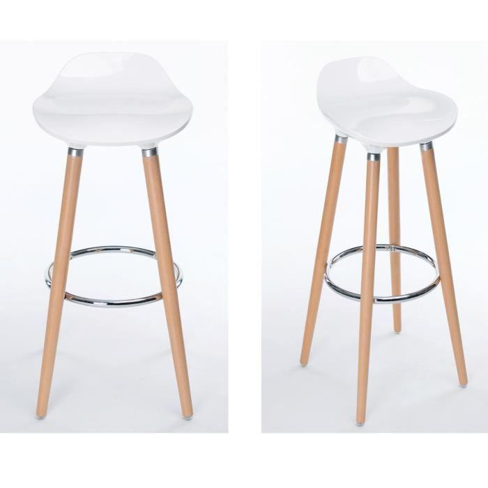 lot de 2 tabourets de bar cuisine scandinaves chaises de bar haute avec repose pieds design. Black Bedroom Furniture Sets. Home Design Ideas