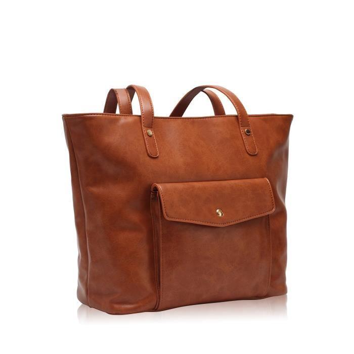 Vintage Grand sac fourre-tout Sacs à main en cuir synthétique Shopper Sac à bandoulière Brown CBEQU