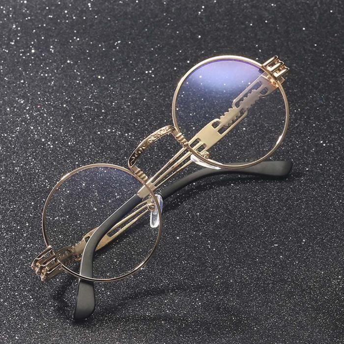 Femmes Retro Round Lunettes Mode Unisexe Aviator miroité Lunettes de soleil Voyage E clair-WDL70714462E_1234
