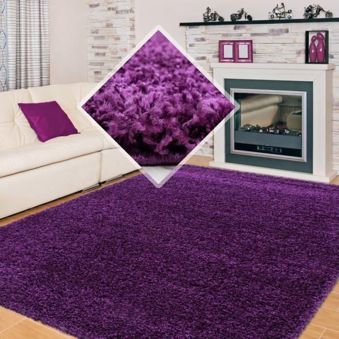 tapis shaggy pile longue couleur unique violet 140x140 cm. Black Bedroom Furniture Sets. Home Design Ideas