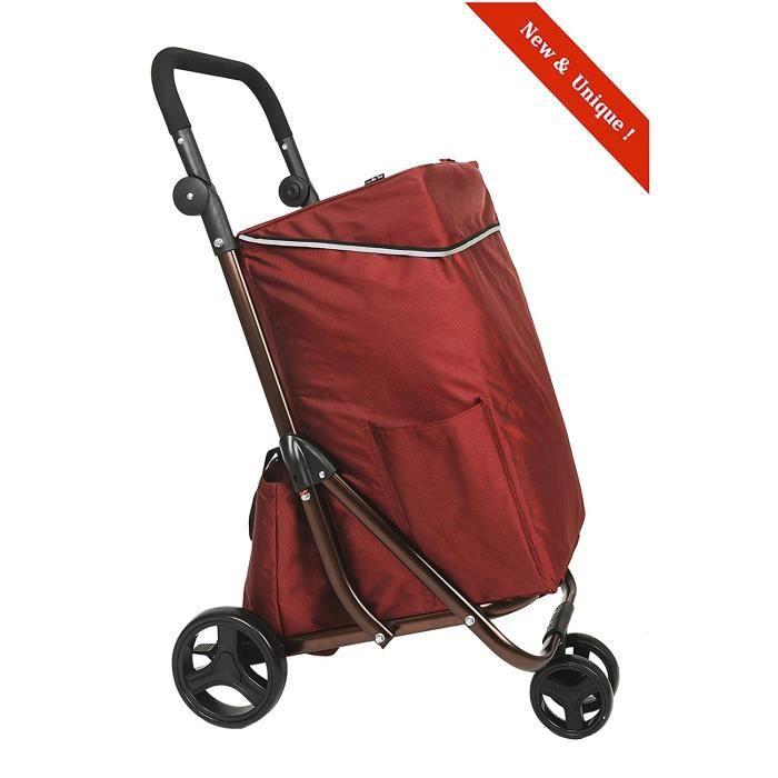 chariot de courses 4 roues avec freins bo time grande capacit 79l avec sac isotherme rouge. Black Bedroom Furniture Sets. Home Design Ideas