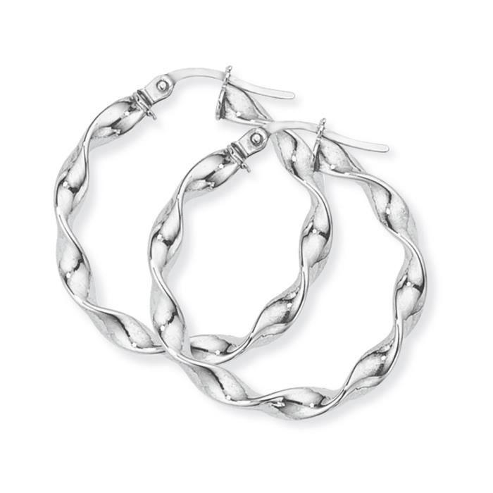Jewelco London Dames Or blanc 9k cerceau des boucles doreilles26mm