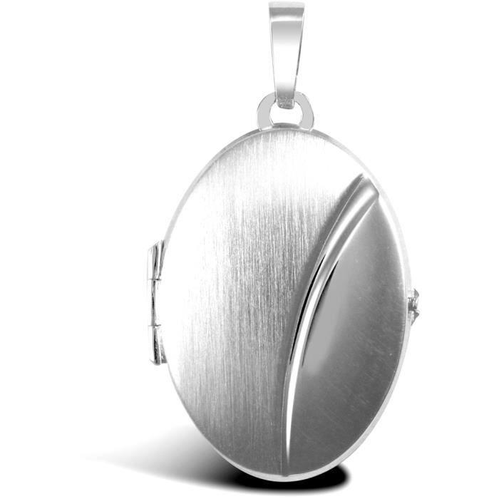 Jewelco Londres dames 9K or blanc brossé mat bean ovale médaillon pendentif