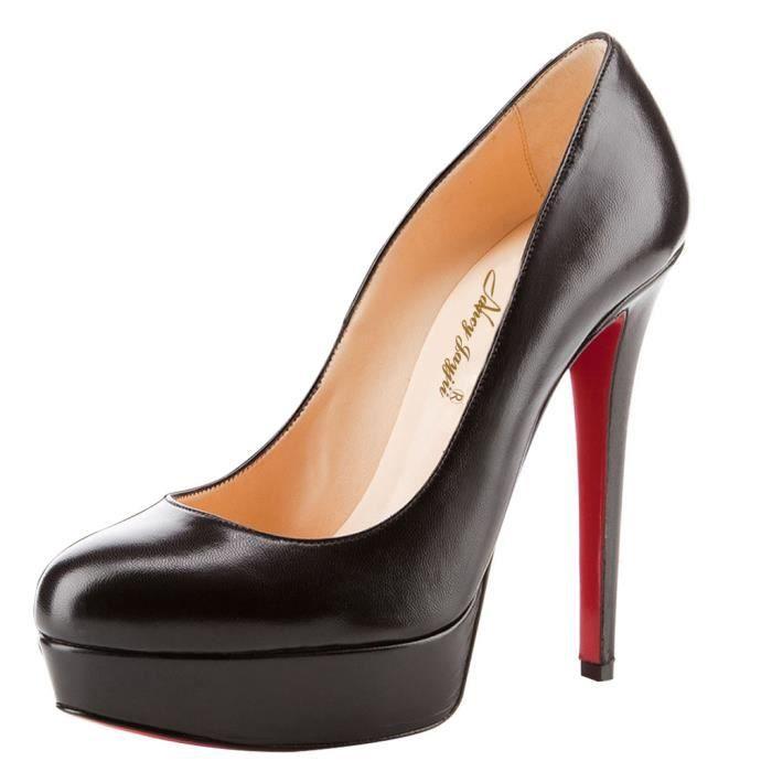 Chaussures femmes en cuir huilé, stilettos compensés noirs Nancy Jayjii.