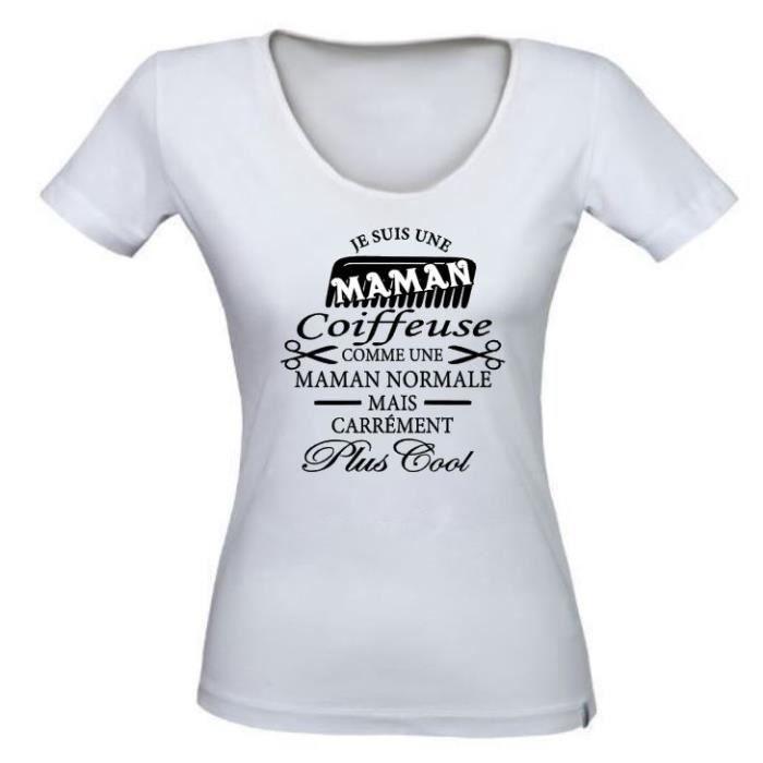 Tee shirt personnalis maman coiffeuse t shirt id e cadeau anniversaire f te des m res no l - T shirt personnalise photo et texte ...