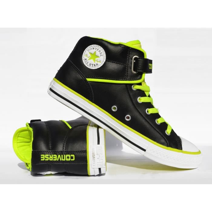 CONVERSE ALL STAR VELCRO LOOPBACK CUIR NOIR ET JAUNE ELECTRIC