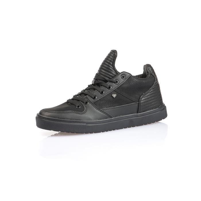 homme basse avec noir cuir Sneaker matelassé effet qg7Ez