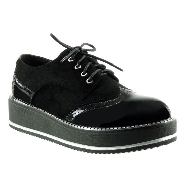 Angkorly - Chaussure Mode Derbies plateforme bi-matière femme fermeture zip verni perforée Talon compensé 4.5 CM - Noir - TS6889 T