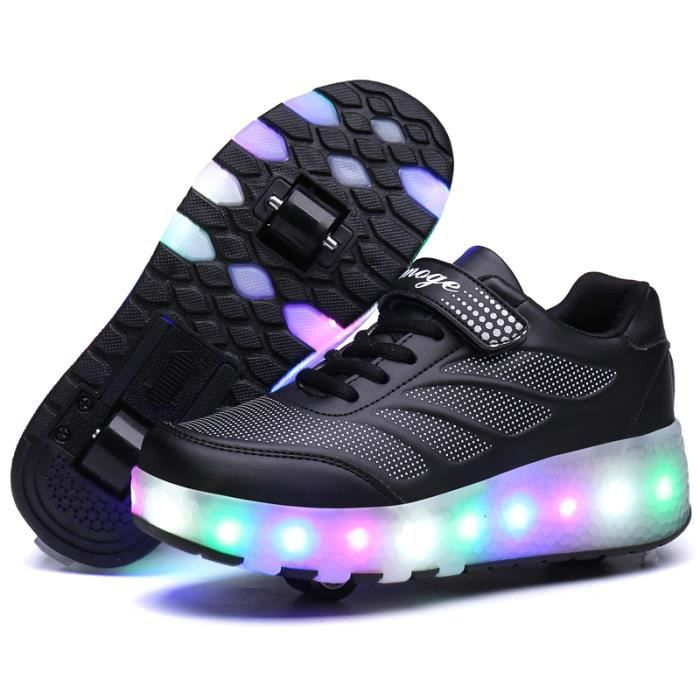 Chaussures Heelys roulette enfant LED lumiere 16 roues Basket garçon fille iSuzX