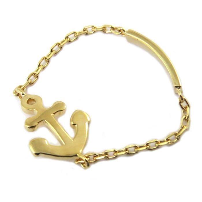 vendu dans le monde entier sélectionner pour véritable premier taux Bague Plaqué Or 'Ancre Marine' doré (bague souple) - 10x8 mm [P4358]