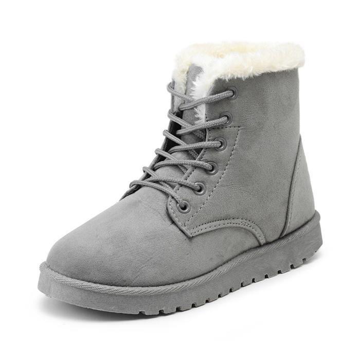 GLAM®les femmes les bottes d'hiver au chaud chaussures bottes occasionnels antipatinage souple gqfMyEInH6