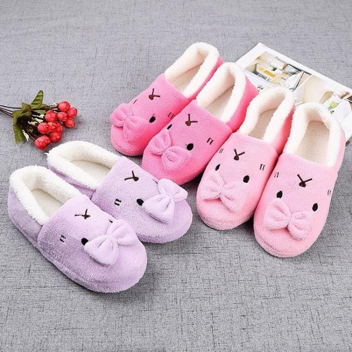 Dames Hommes mignon de bande dessinée de lapin chaud Chaussures anti-dérapantes Coton Pantoufles famille chaussures R0OxzH0