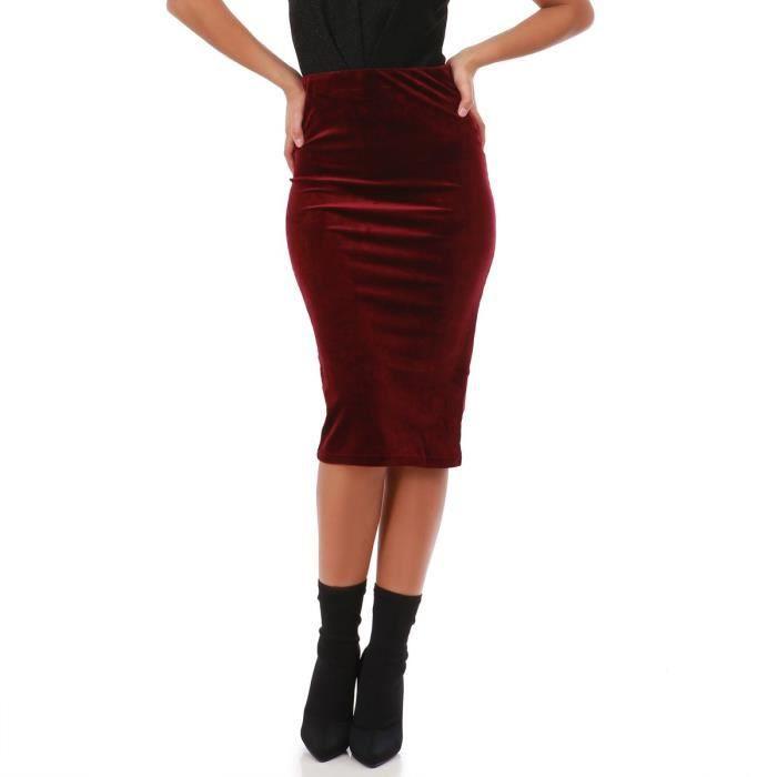 e0ddd7c472e Jupe crayon bordeaux en velours-S Rouge Rouge - Achat   Vente jupe ...