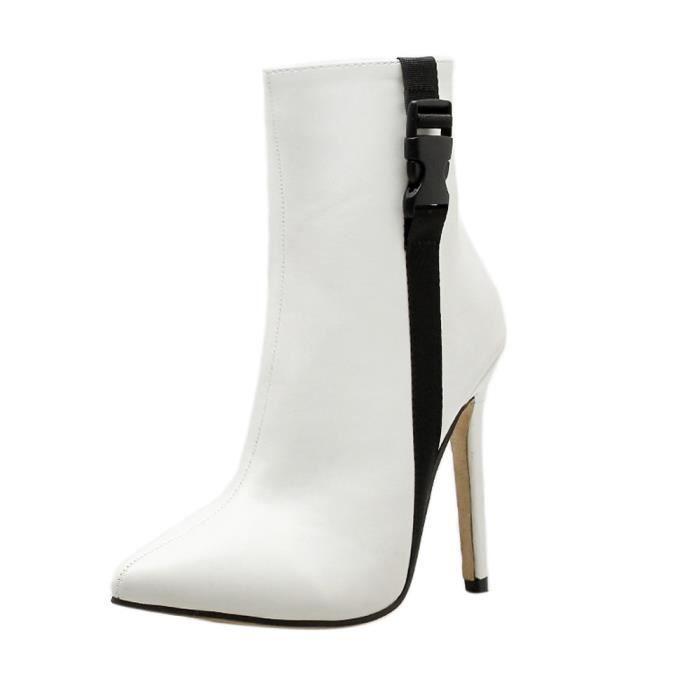 12d6b34b32d9 Pointu Hx3936 Lacets Chaussures Escarpins À Escarpin Haut Blanc Sandales  Les Bout Printemps Talon Femmes Bottes 7xqTSp