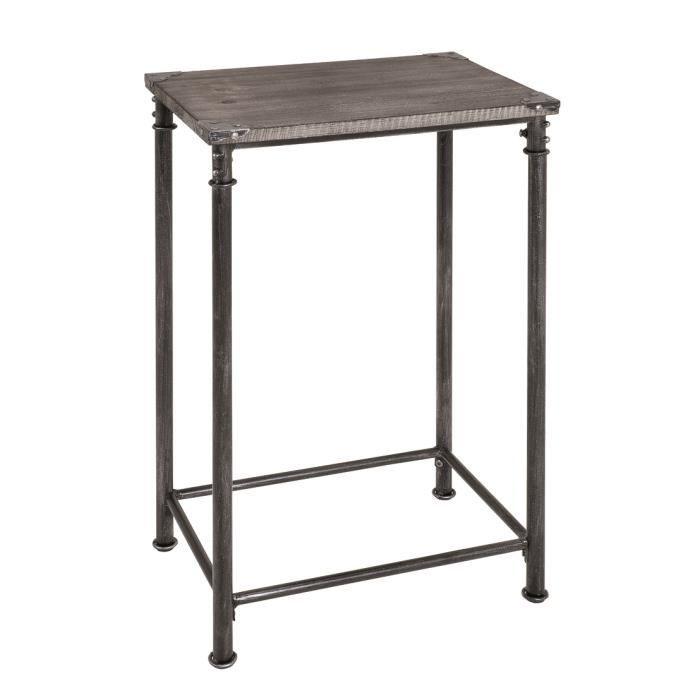 Table Console En Acier Noir Et Bois Massif Gris Achat Vente