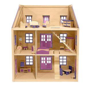 maison de poupee en bois rose achat vente jeux et jouets pas chers. Black Bedroom Furniture Sets. Home Design Ideas