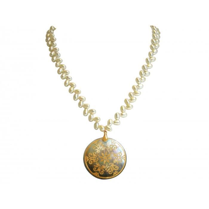 Gemshine - Femmes - Collier - pendentif - médaillon - Perle - Or - Blanc - Gris - 5 cm