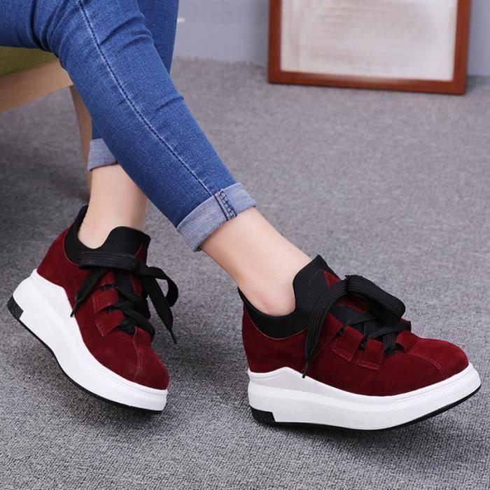chaussures multisport Femme chaud Talon haut Casual Sport Mocassins hiver de femme noir taille7