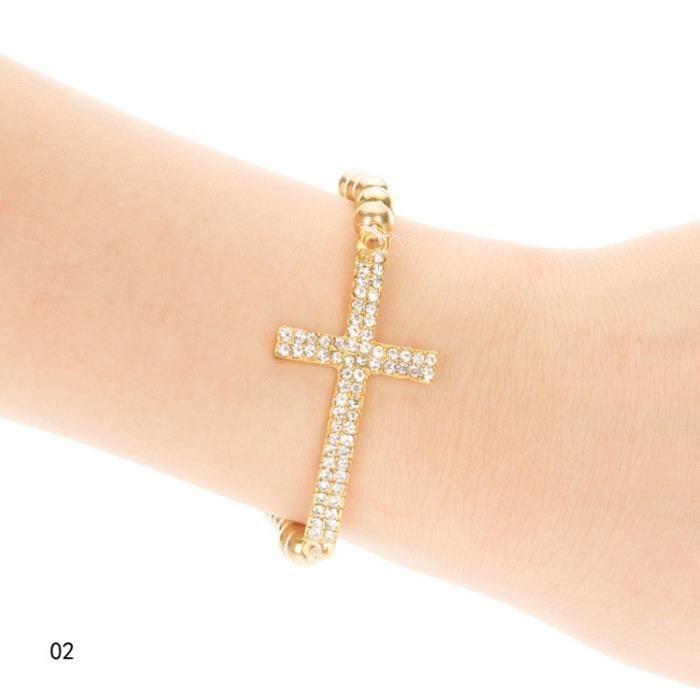 Femme Trendy marqueté en alliage4 4 élastique Drill Bracelet strass Accessoires bijoux plaqué or4 élastique Drill Bracelet