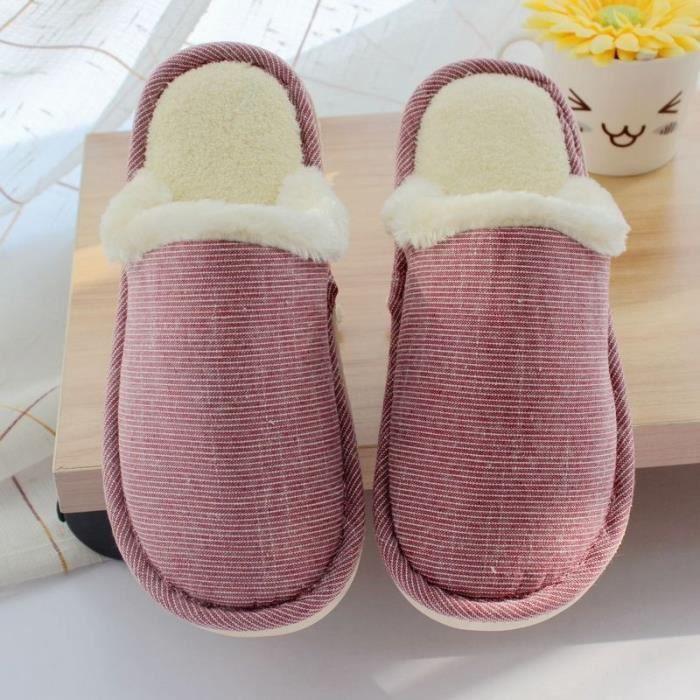 Couple d'automne et d'hiver Stripes Coton Pantoufles chaud Épaississement coton